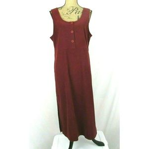 Shaver Lake (M) Brick Red Faux Suede Maxi Dress
